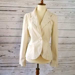 Mossimo Cream Cotton Spandex Blazer Sz M
